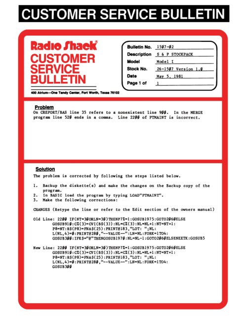 Tandy / Radio Shack Memos, Bulletins, and Releases | Ira